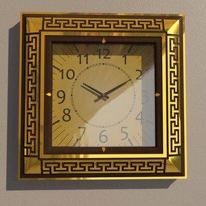 3D square wall clock model