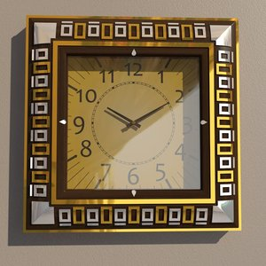 square wall clock decoration model