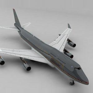 3D boeing 747 royal jordanian model