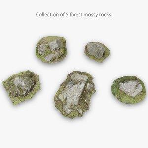 5 moss rocks 3D