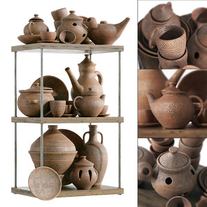 3D model dishes clay