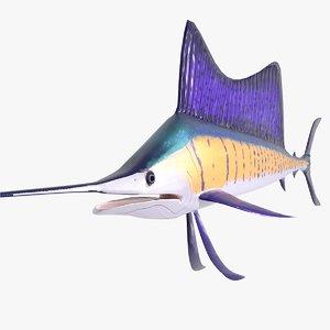 3D fish sailfish sail