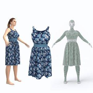 3D character female clothing dress model