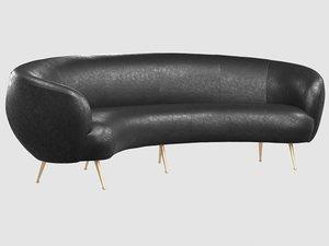 souffle banquette bubbly black 3D model