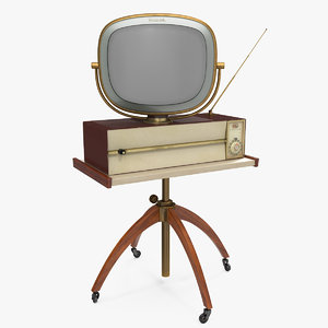 3D model vintage antique 50s tv stand