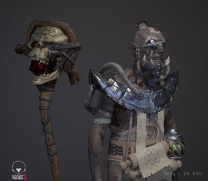 3D warlock wizard character model