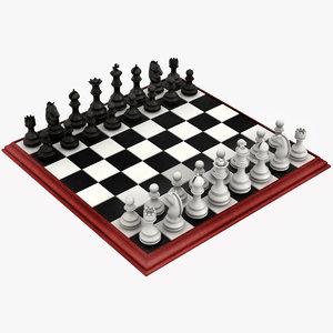 3D realistic plastic chess set model