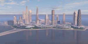 center futuristic city 3D model