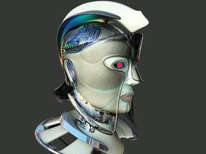 3D robotic spartan woman head