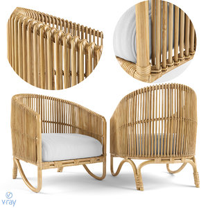 tara rattan lounge chair 3D model