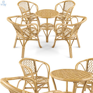 3D set garden furniture