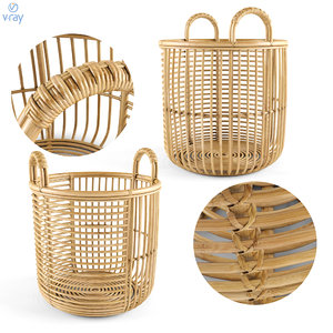 3D model java rattan baskets medium