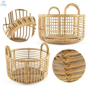 java rattan baskets 3D
