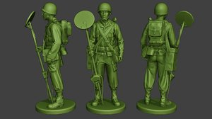 3D soldier ww2 engineer stand model