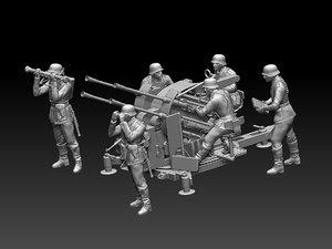 3D model german soldiers flak