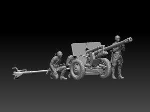 3D model ussr soldiers zis-3