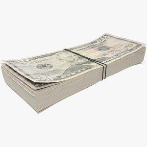 3D fifty dollars bills