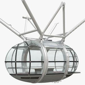 3D ferris wheel passenger capsule model