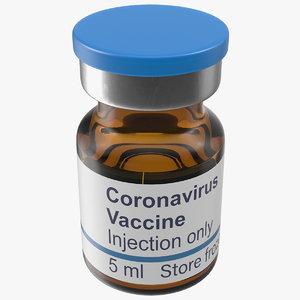 coronavirus vaccine vial 5ml 3D model
