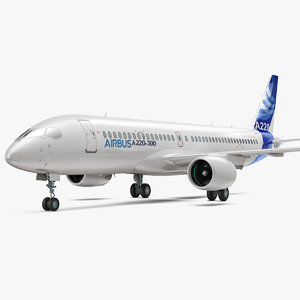 airbus a220 300 simple 3D model