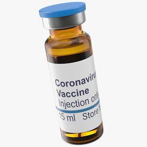 3D coronavirus vaccine vial 15ml