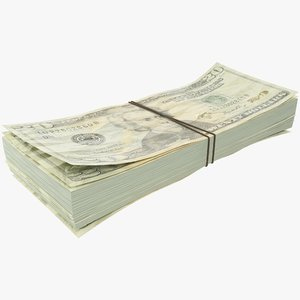 dollars bills banknotes 3D model