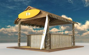 3D tiki bar surf shop model