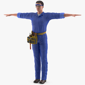 electrician t-pose electric 3D model