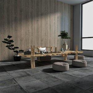 3D wooden furniture set tea model