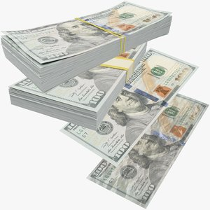 3D dollars bills banknotes