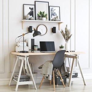 office chair lamp 3D model