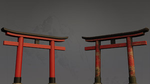 3D torii japanese gate shrine