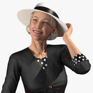 old lady wearing casual 3D model