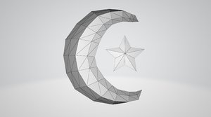 3D moon star