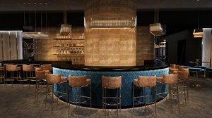 3D luxury night club bar interior model