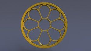 windows circular frame 3D model