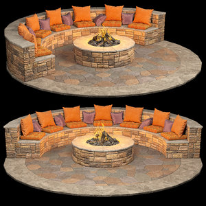 3D bonfire stone pillows