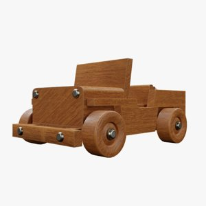3D wood toy jeep model