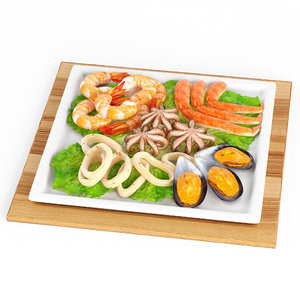3D model seafood food sea