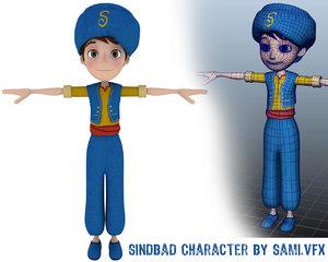 3D sindbad character dea model