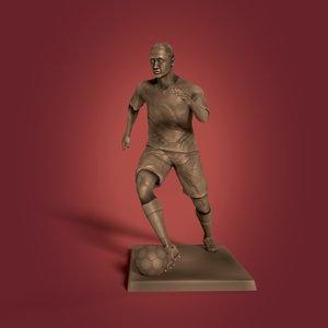 3D soccer player statue