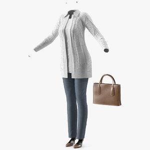 women casual outfit handbag model