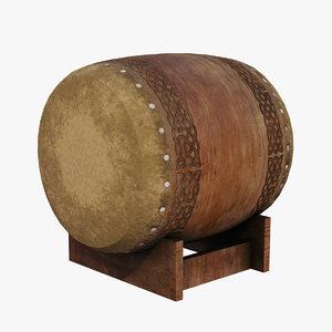 3D taiko japanese drum japan