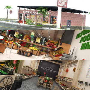 3D natural foods market greengrocer