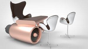 3D model aviation chair