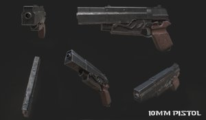 gun 10mm pistol 3D model
