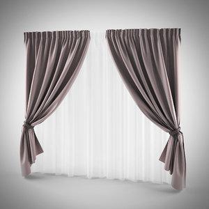 3D model curtains purple