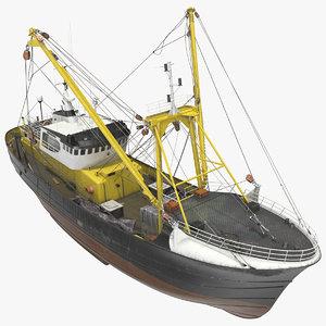 3D fishing boat trawler trawls model