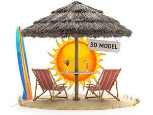 3D bulrush straw chair model
