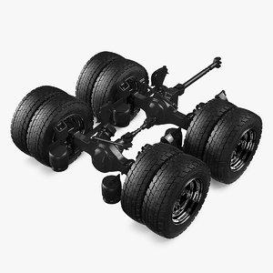 heavy duty truck tandem 3D model